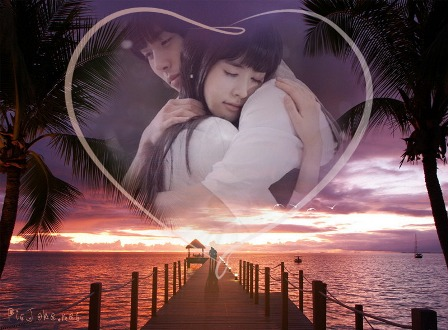 Hermoso fotomontaje romántico en un corazón y con fondo de un bello ...