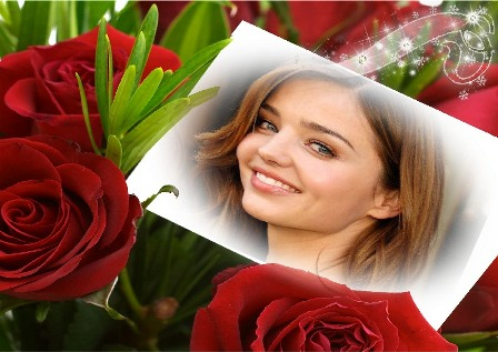Fotomontajes con hermosas rosas rojas