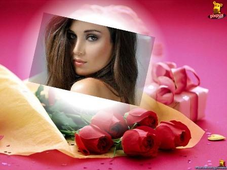 Fotomontajes con un ramo de rosas