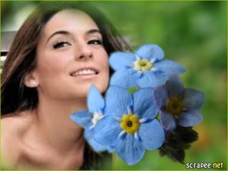 Fotomontajes con flores azules