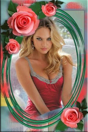 Fotomontajes en un marco de rosas