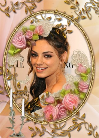 Fotomontajes en una bello marco con rosas