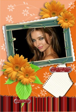 Fotomontajes en un marco con bellas flores