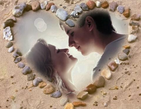 Un corazón en la arena como símbolo de nuestro amor