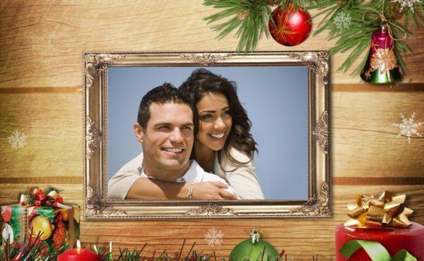 foto monttaje navideño pareja